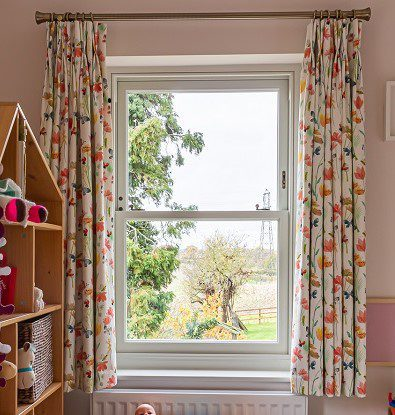 Child's bedroom curtains with double pleat heading
