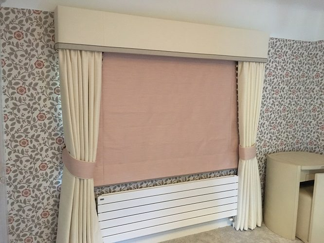 Curtains with pelmet and roman blind