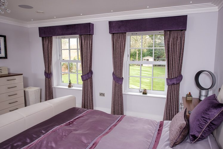 Full length curtains with contrasting pelmets